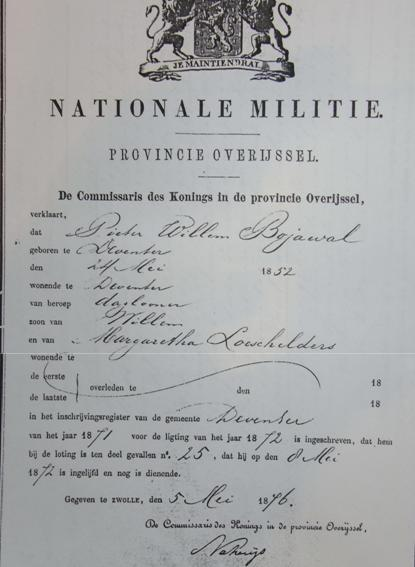 Loting Nationale Militie 1875